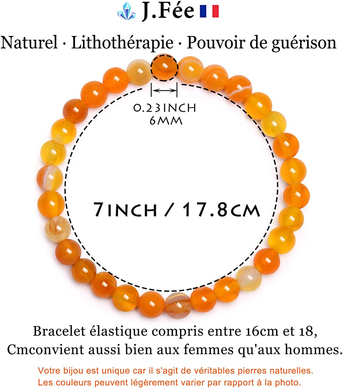J.F/ée Bracelet 6mm Semi Pr/écieux Bracelet de Perles Bracelet Naturel Bracelet /Élastique Bracelet Femme Cadeau Saint Valentin danniversaire Unisexe