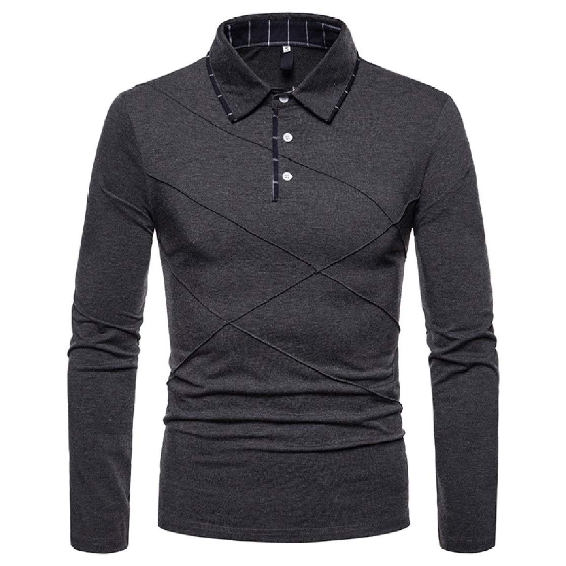 Comaba Men Pullover Lapel Collar Plus-Size Long-Sleeve Causal Polo Shirt