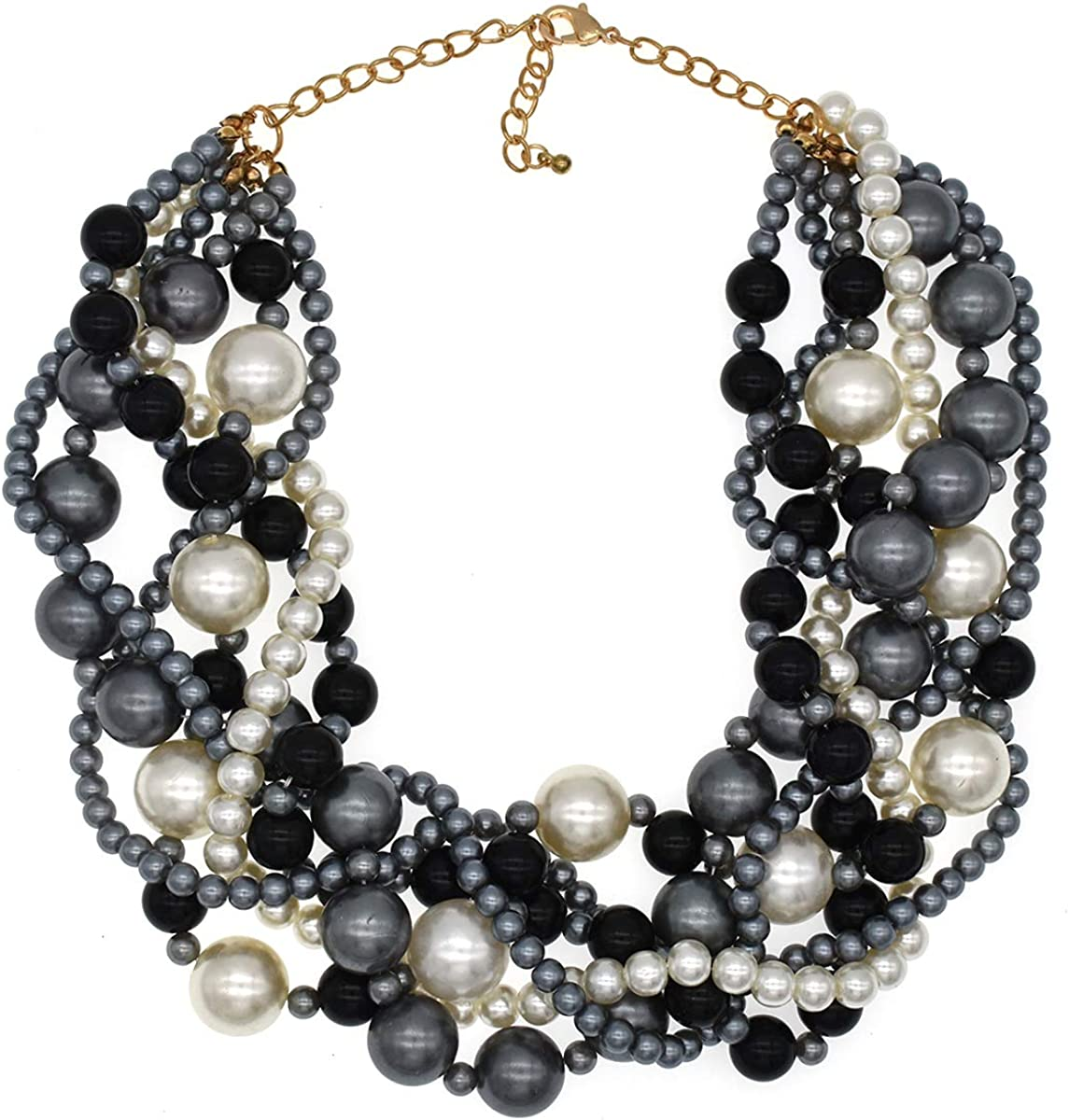 Multiple Layered Chunky Necklace Black Beadwork Jewelry Gift Two Row Double Strand Beaded Necklace Black and White Gold Statement Necklace