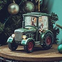 SUNFACE Tractor Scene Christmas Snow Globe Musical Water Lantern Light