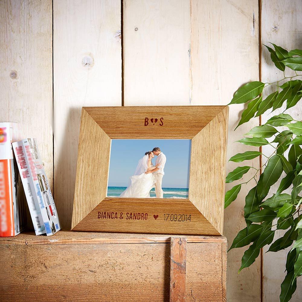 Amazon.de: Bilderrahmen mit Gravur zur Hochzeit - Motiv [Ringe ...