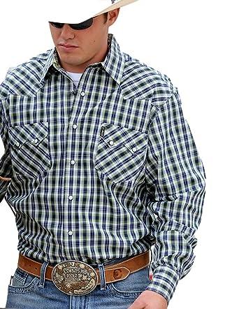 63548a3276b Cinch Men s Navy Plaid Modern Fit Double Pocket Western Shirt - Mtw1301010  Nav - Blue -