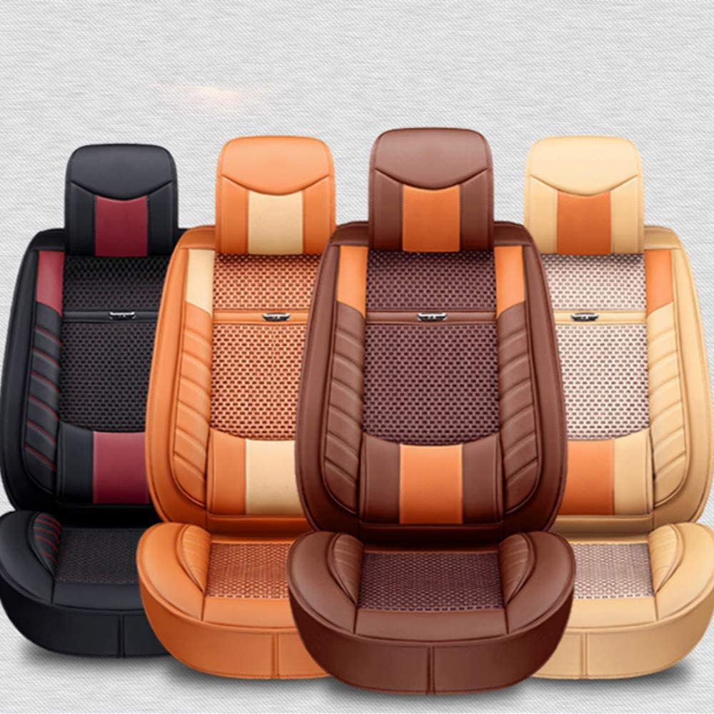 ANKIV 2pcs Universal Fit Car Seat Cushions 3D Surrounded Luxury Waterproof Pu Leather and Breathable Artificial Silk Car Seat Covers Trims with Fixed Lumbar Pillows for Sedan SUV Front 2pcs Black