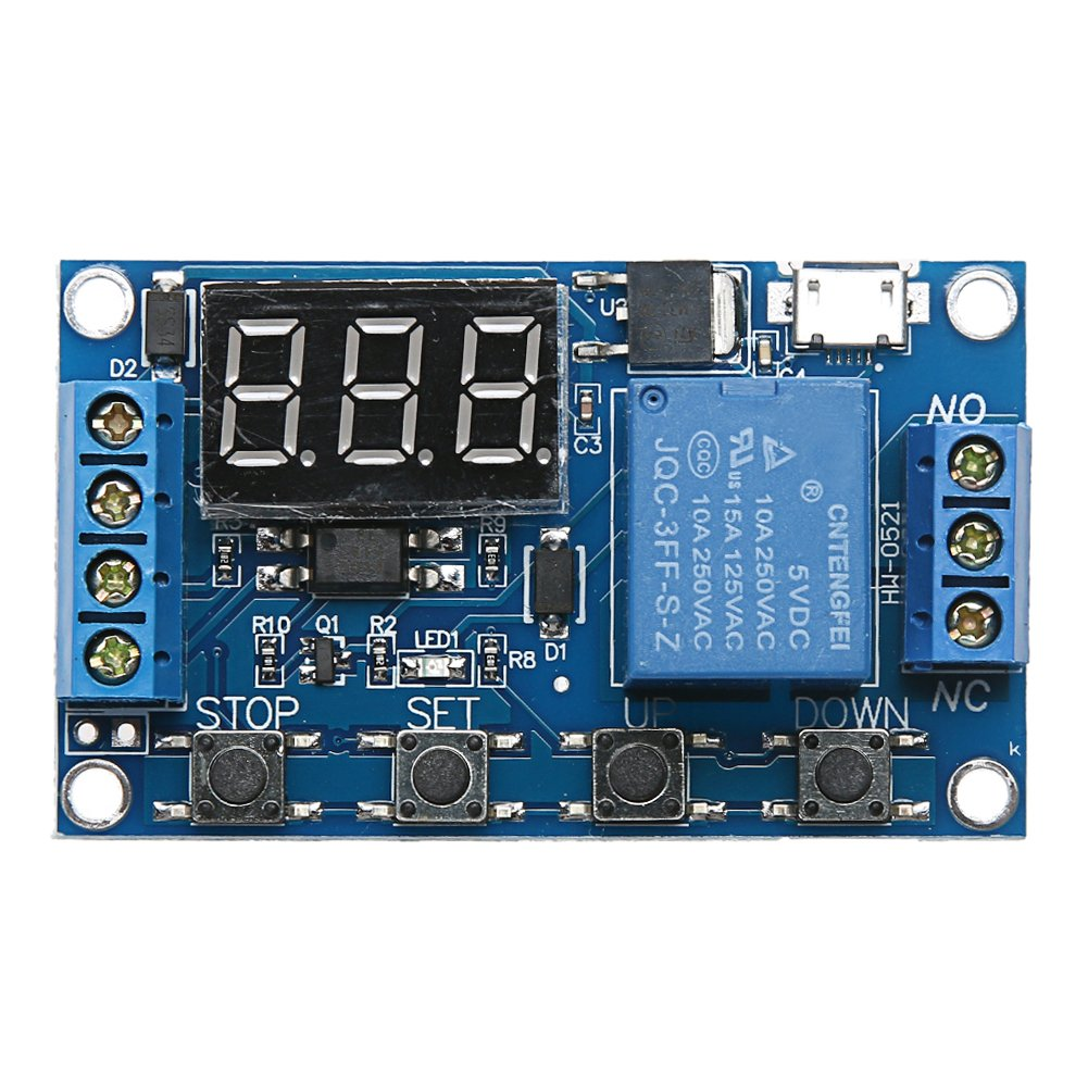 UEB Digital On/Off Delay Relay Module, 6/30V Relay Board External Trigger Cycle Time Delay Relay with LED Display