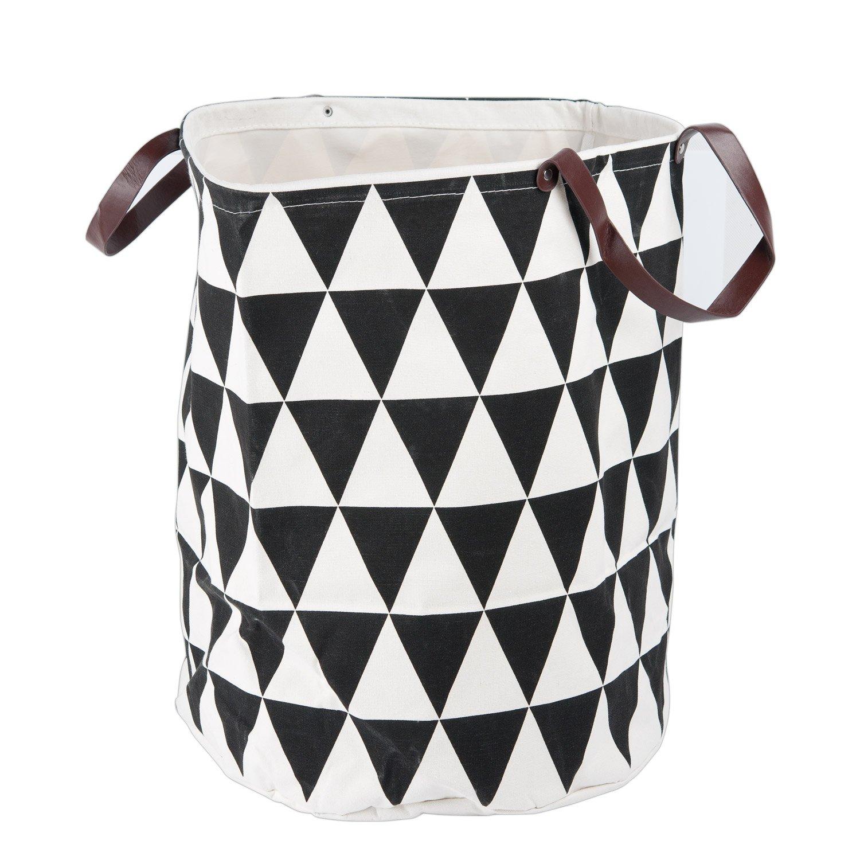 Lysport Waterproof Canvas Cotton Fabric Folding Laundry Hamper Bucket Storage Basket with Handles for Baby Nursery, Bathroom, or Bedroom