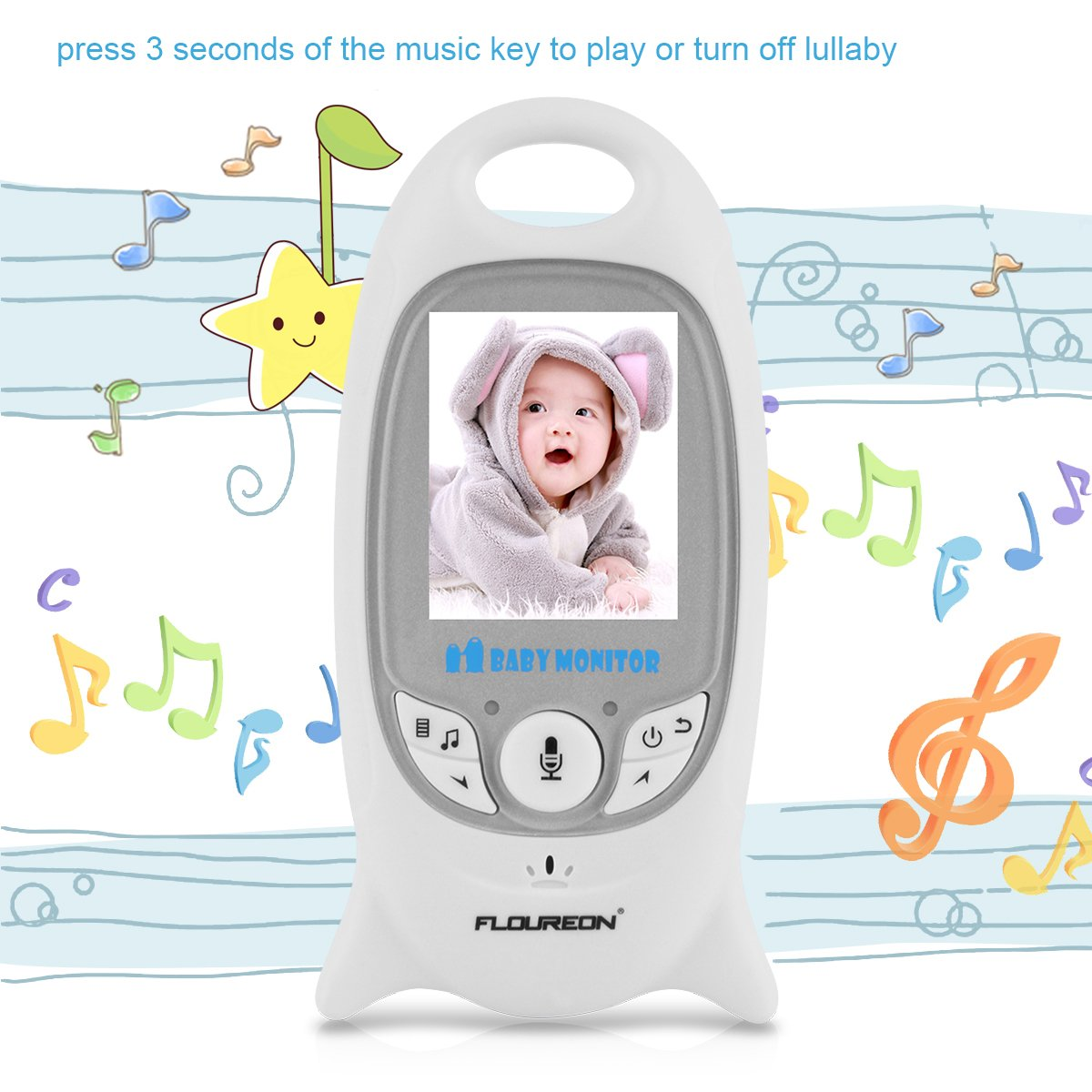 FLOUREON Wireless Baby Monitor IP Camera with Two Way talk 2.0 Inch LCD Digital Screen/Automatic Night Vision Security Camera/Temperature Monitoring/Lullabies Radio