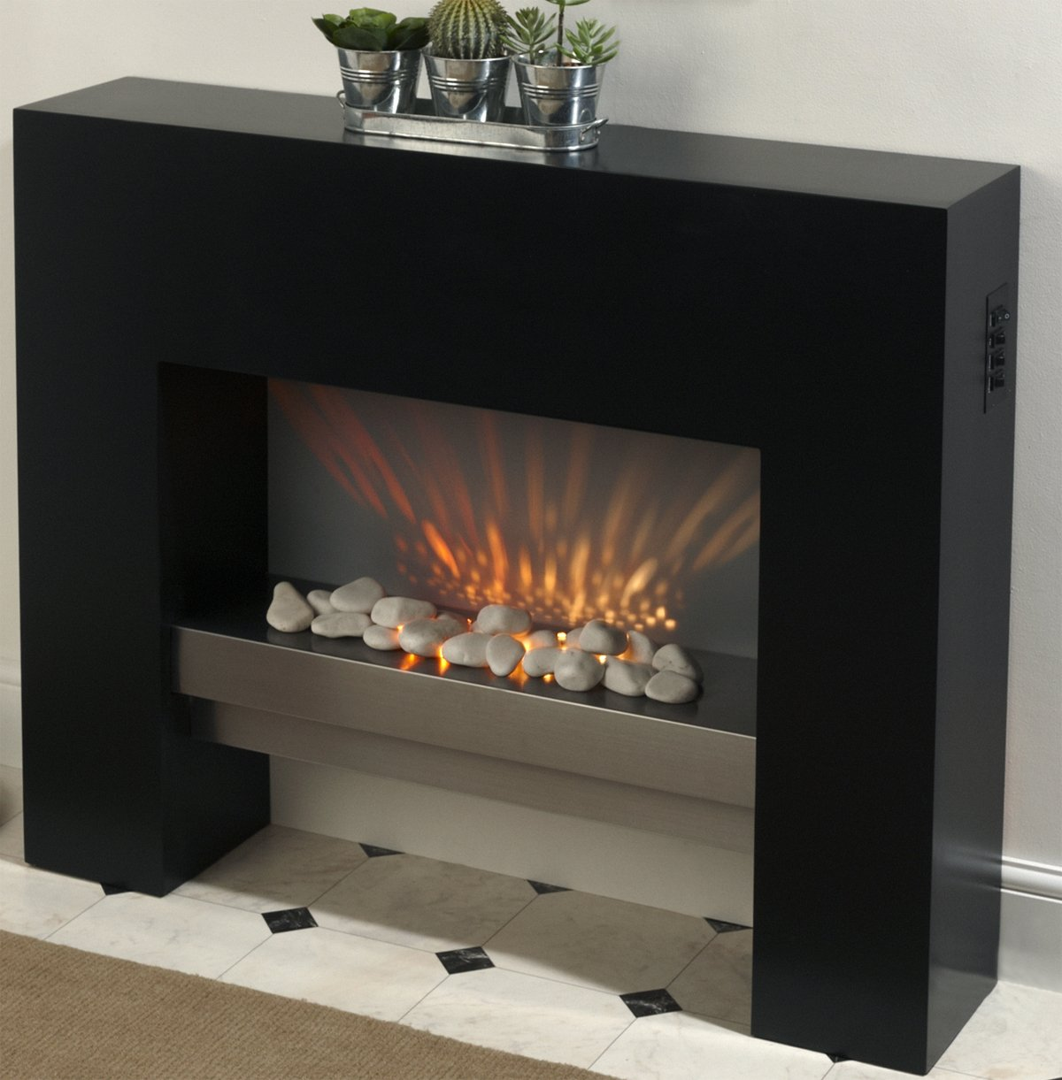 free standing or inset electric fire and fireplace surround
