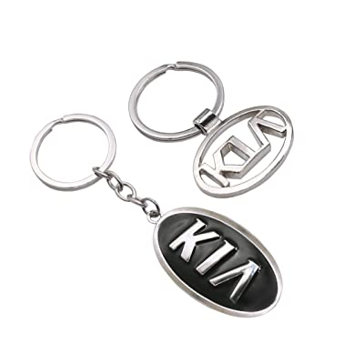 EVPRO 2 Pcs Key Rings with Hollowed 3D Metal Chromed Auto Car Key Chain Fit for KIA Accessories: Automotive