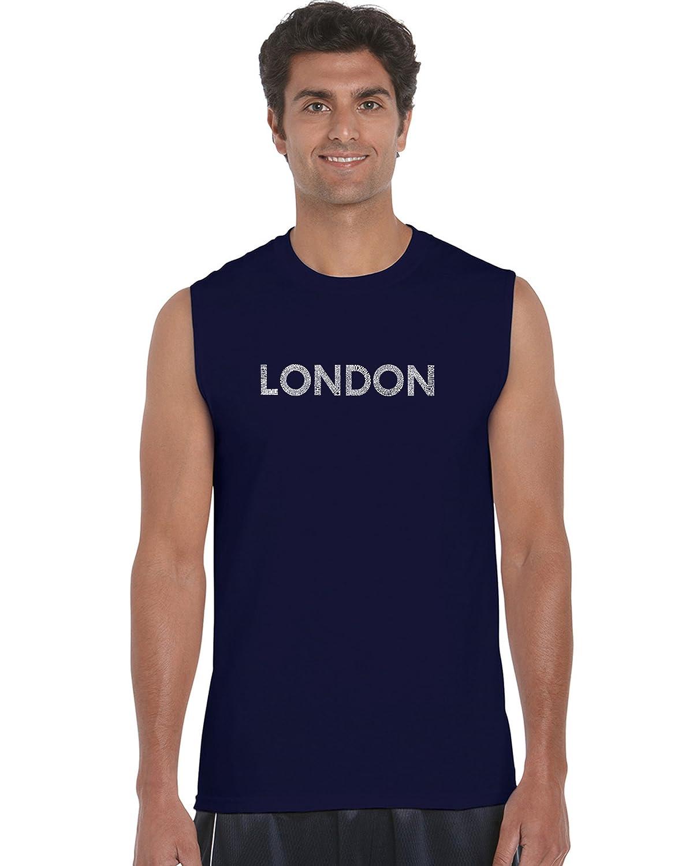 LA Pop Art Mens Sleeveless Word Art T-Shirt London Neighborhoods
