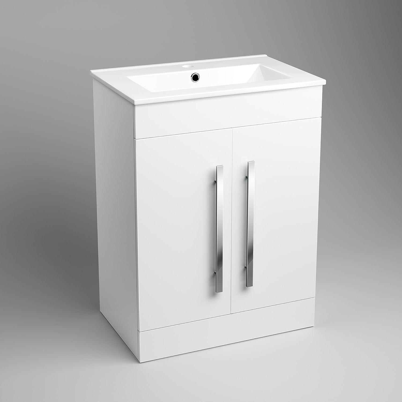 600 mm white gloss vanity sink unit ceramic basin bathroom storage furniture mv800 ibathuk amazoncouk kitchen u0026 home
