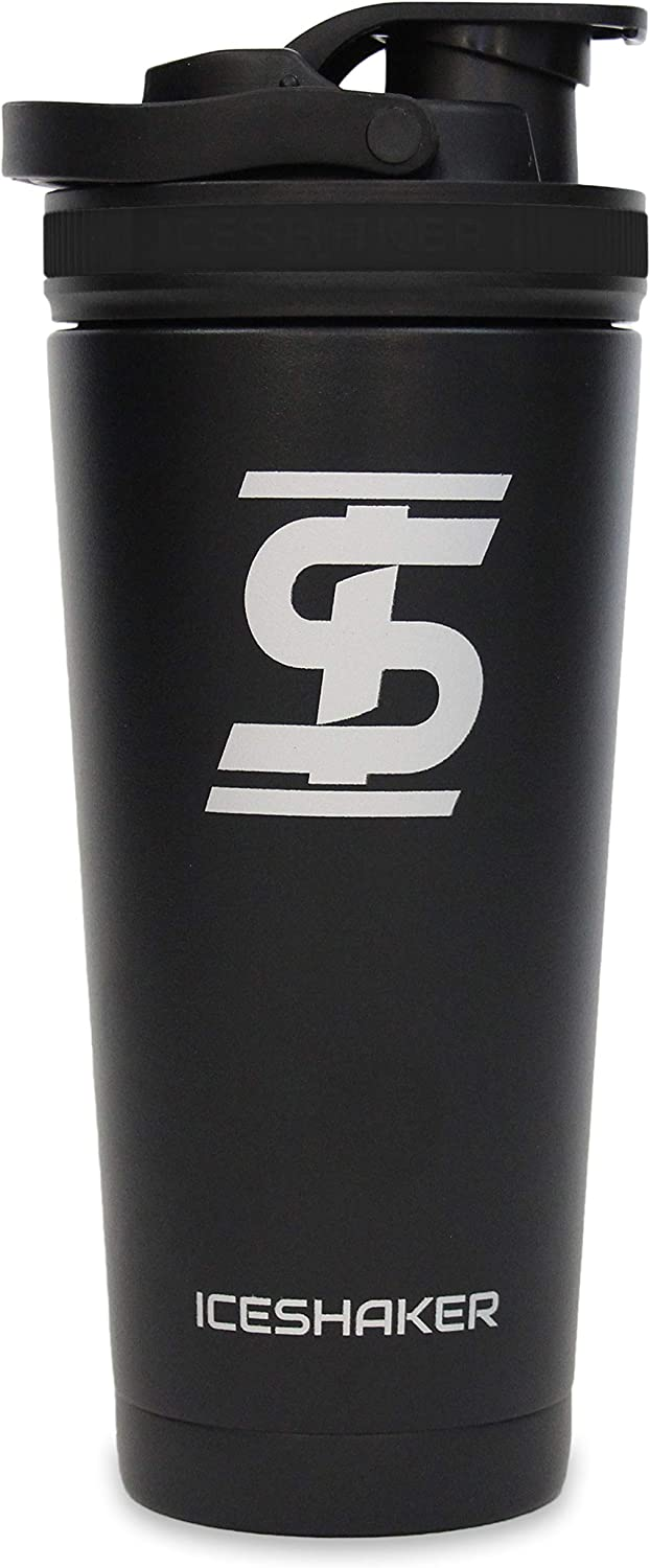 Ice Shaker Stainless Steel Insulated Water Bottle Protein Mixing Cup (As seen on Shark Tank)   Gronk Shaker   26 oz (Black)