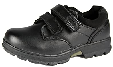 16f71b8c10b0 MACADAM Kids Boys Alfie Black leather velcro school shoes JR 8 -UK2   Amazon.co.uk  Shoes   Bags