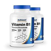 Nutricost Vitamin B1 (Thiamin) 500mg, 120 Capsules (2 Bottles)