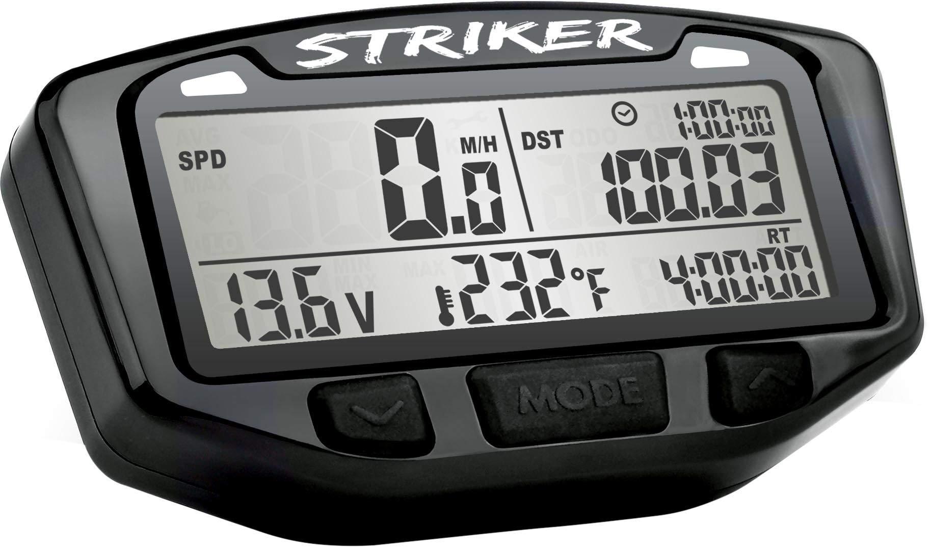 Trail Tech 712-117 Black Striker Speedometer Digital Gauge Kit with Volt Meter by Trail Tech