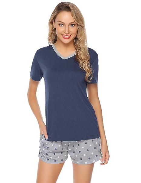 a380626ed Hawiton Pijamas para Mujer Verano Corto Pijama de Algodón Manga Corta