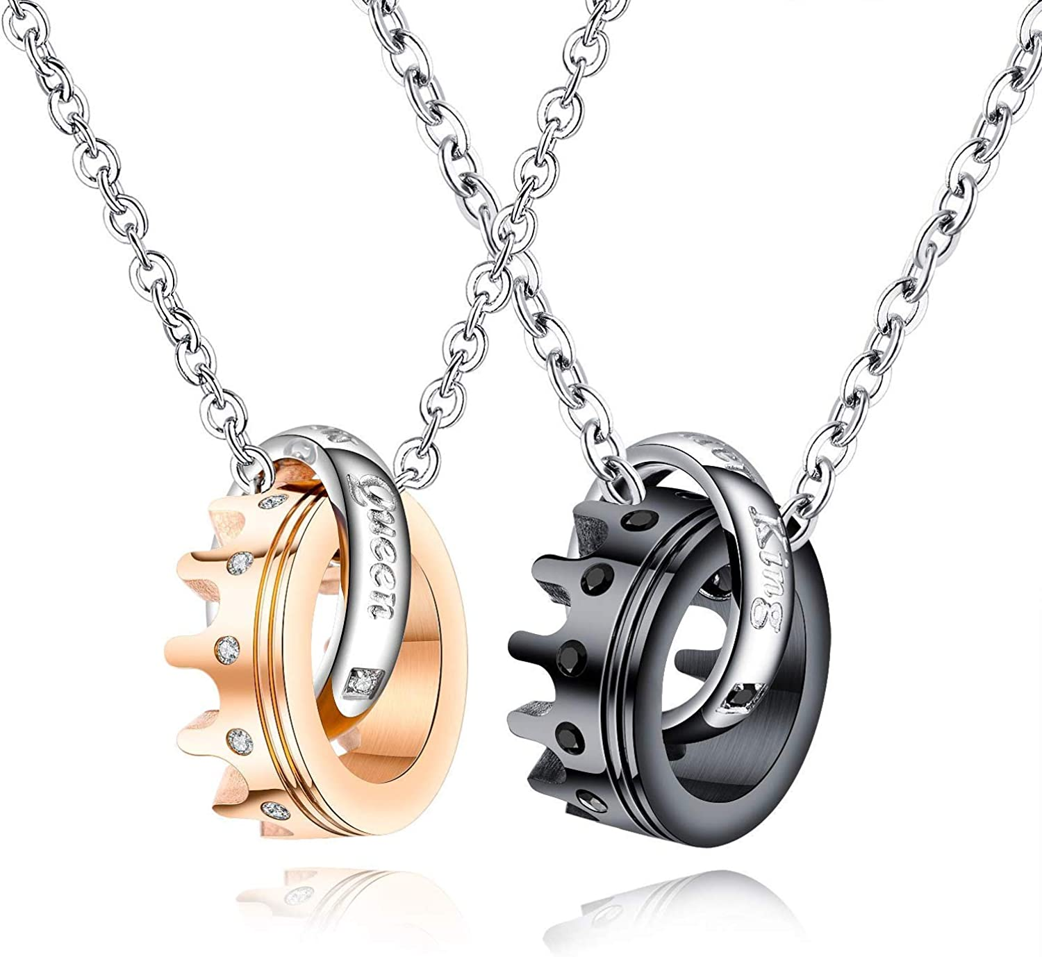 His /& Hers Matching Set Necklace Titanium Stainless Steel Her King His Queen Couple Crown Ring Pendant