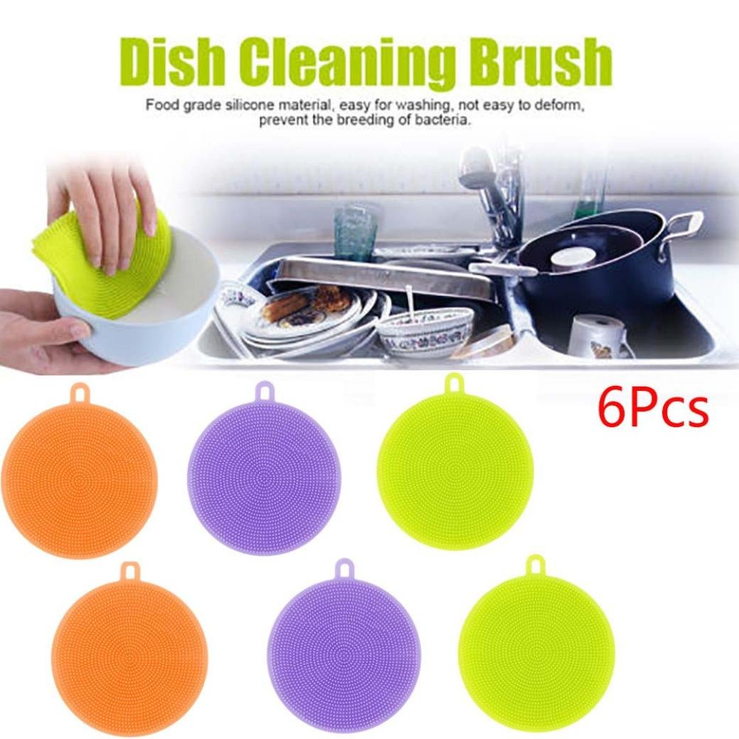 Kanzd 6Pcs Silicone Dish Washing Sponge Scrubber Kitchen Cleaning antibacterial Tool (6PCS)
