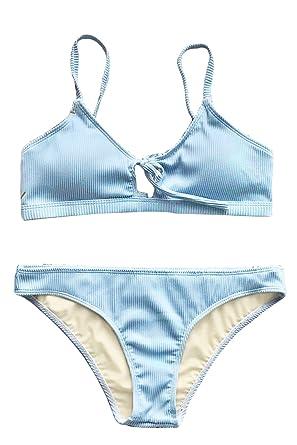 6b5f8808427 CUPSHE Women s Fluffy Cloud Tie Bikini Set Beach Swimwear Bathing  Suit