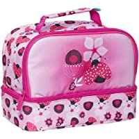 Spencil Lady Bug Twin Top Lunch Box, Insulated Food Safe, Lunch Bag for Kids,School,Girls