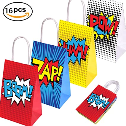 Superhero Party Supplies Favors Bags For Theme Birthday Decorations Set Of 16 4 Colors