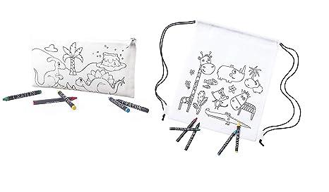 Emotiset Lote de 15 Mochilas y 15 Estuches para Colorear Incluye Ceras para Pintar- Regalo Original para cumpleaños Fiestas y Eventos Infantiles