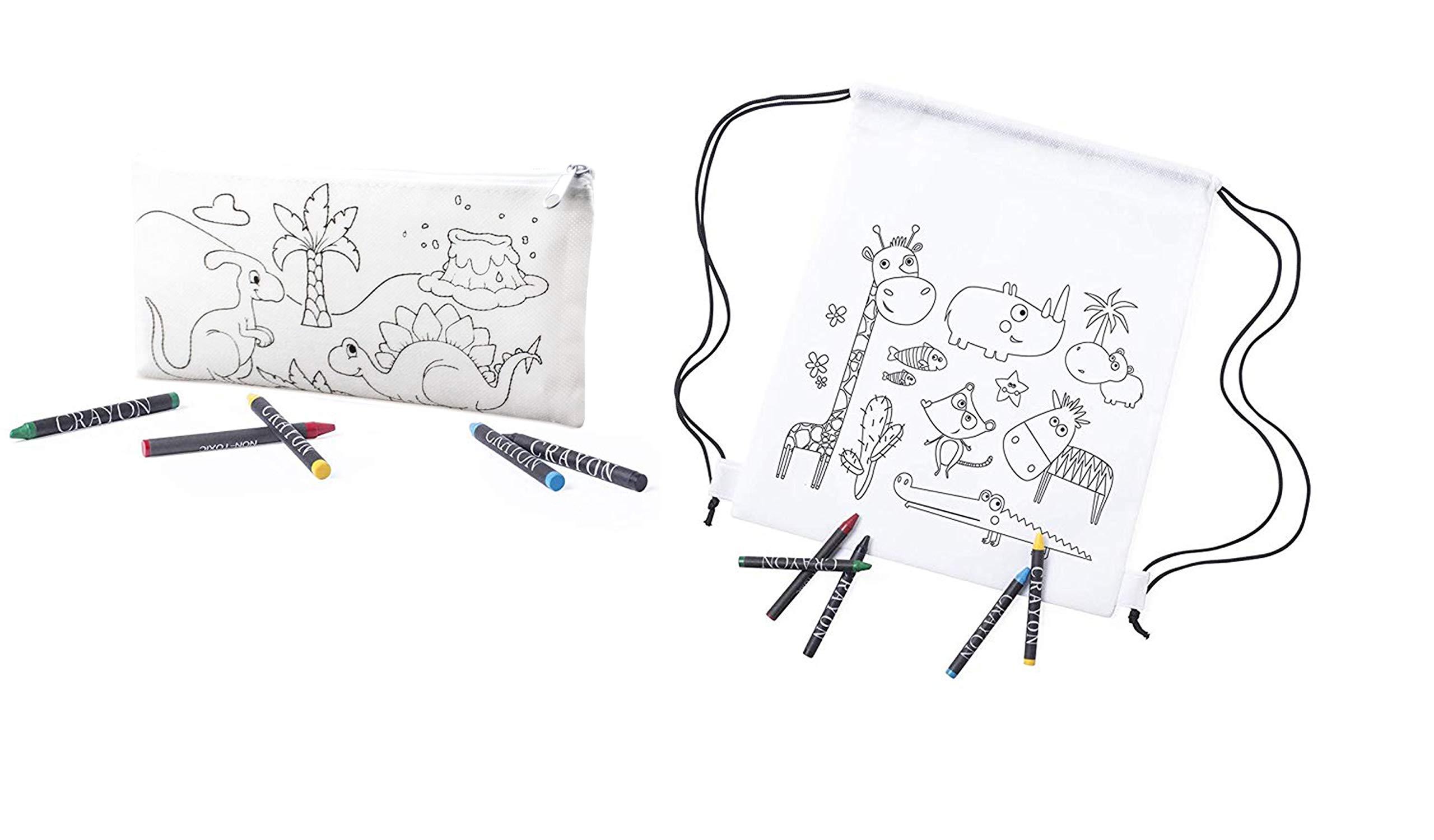 Emotiset Lote de 15 Mochilas y 15 Estuches para Colorear Incluye Ceras para Pintar- Regalo