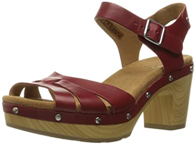 CLARKS Women's Ledella Trail Heeled Sandal, Red Leather, ...