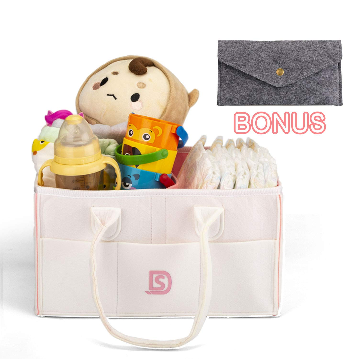 Diaper Caddy Organizer Nursery Diaper Tote Bag Portable Car Travel Felt Diaper Basket Infant Boy Girl Baby Essentials Storage Bin for Changing Table - Cute Gift for Kids (White)
