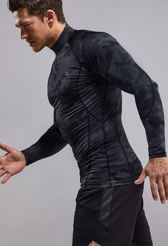 (テスラ)TESLA 長袖 ハイネック コンプレッションシャツ スポーツ tシャツ [UVカット・吸汗速乾] コンプレッションウェア ランニング トレーニング 野球 ゴルフ スポーツシャツ MUT32-WBK_M