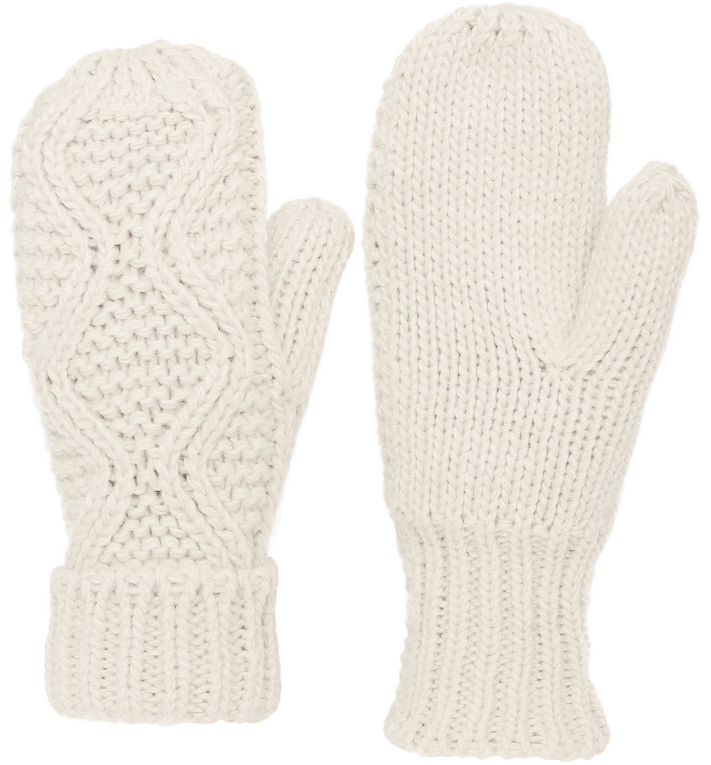 KMystic Classic Cuffed Thick Winter Knit Mittens (White)