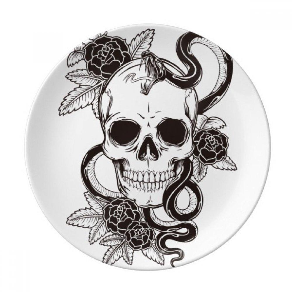 Animal Skull Snake Sketch Pattern Dessert Plate Decorative Porcelain 8 inch Dinner Home