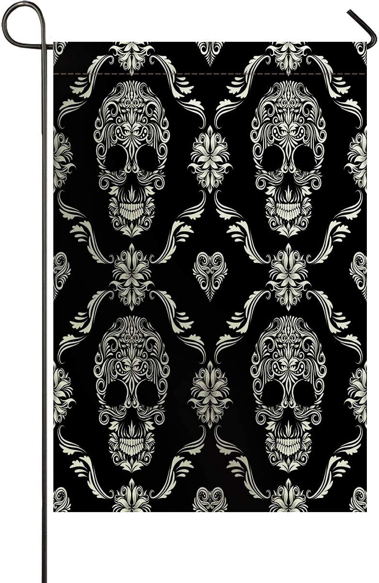 Big buy store Garden Flag Double-Sided Banner Festival Decoration for All Seasons Halloween Scary Skull Durable Welcome Garden Flag for Outside Courtyard Lawn Porch Party Black 12x18 inches