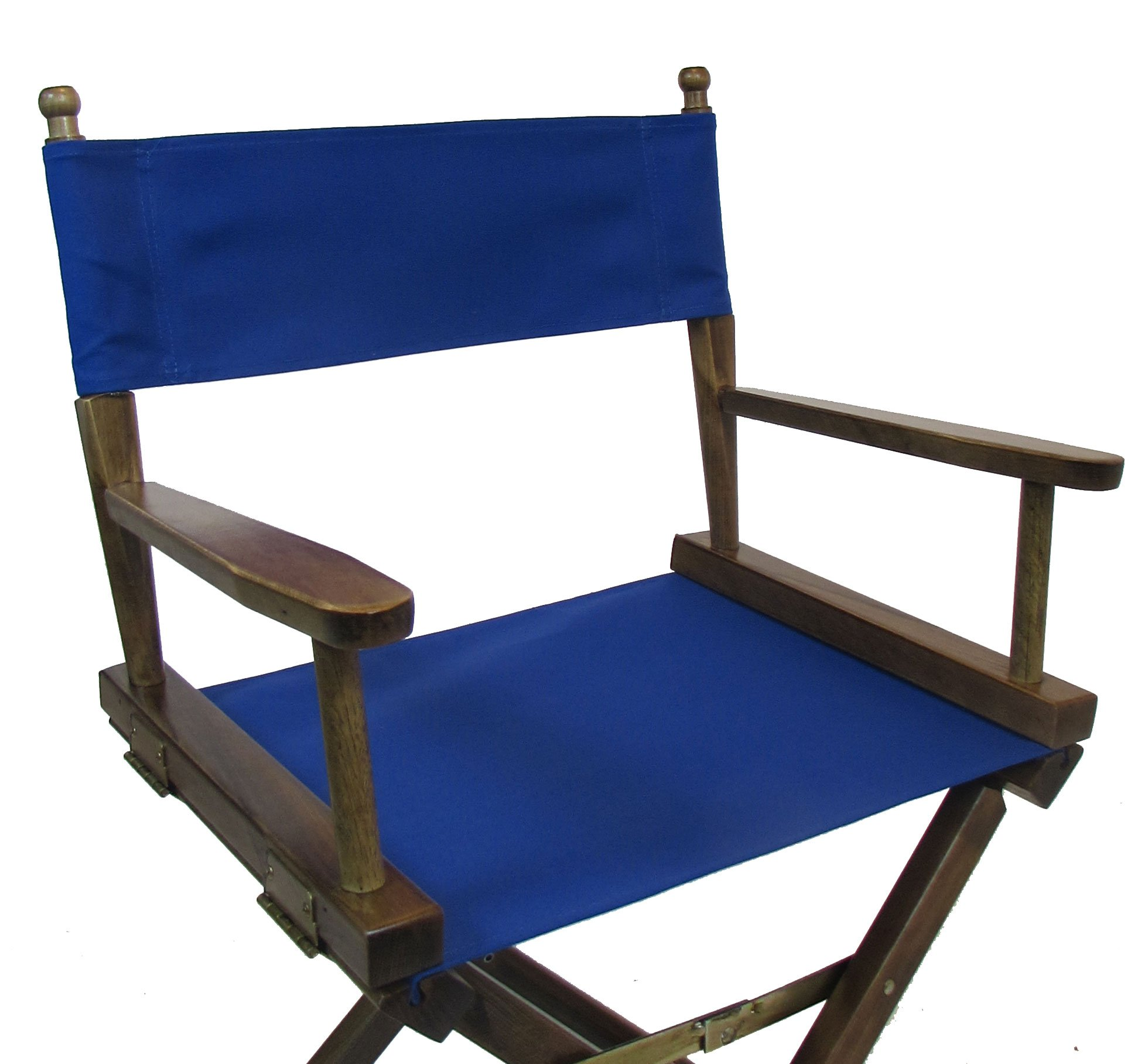 PERSONALIZED EMBROIDERED Gold Medal Contemporary 30'' Bar Height Walnut Frame Directors Chair - Royal Blue
