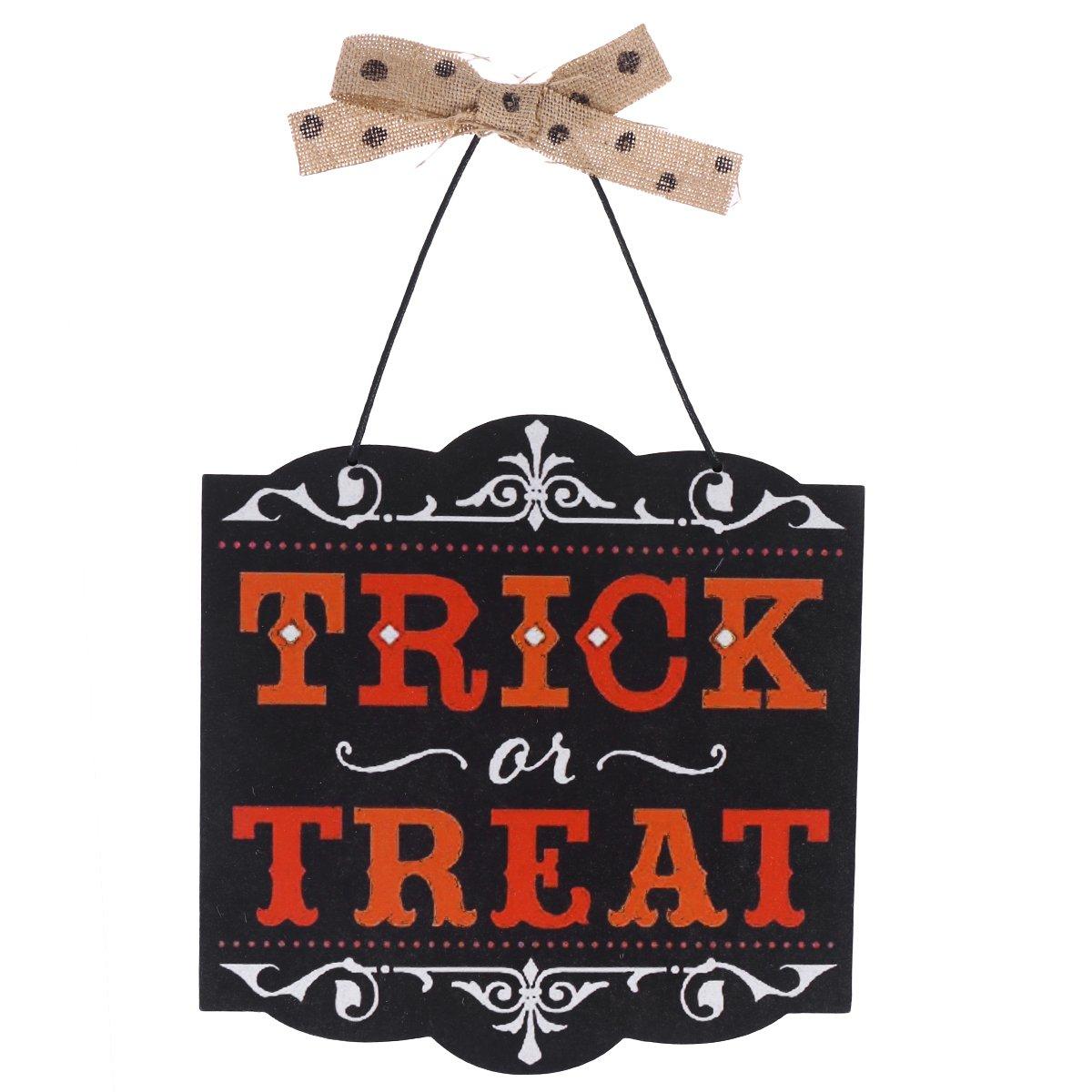 Halloween Decorative Plasuge Vintage Style Wooden Hanging Door Wall Plaque Holiday Hanging Sign - Treat or Trick