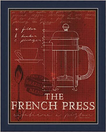 Amazon coffee blueprint i marco fabiano red the french press coffee blueprint i marco fabiano red the french press art print framed picture wall dcor artwork malvernweather Image collections
