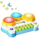 QUN FENG ハンドドラム ミュージカルおもちゃ ミュージック遊び メロディー 多機能 キーボード 鍵盤 知育玩具 音楽学習 楽器ゲーム 電子ピアノ 子供 人気 可愛い 青い
