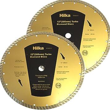 Pack OF 2) Hilka 300 mm x 20 mm (30,48 cm) Diamond Turbo disco de losas de corte diseño cilíndrico para hormigón bordillos para Stihl sierra etc: Amazon.es: Bricolaje y herramientas