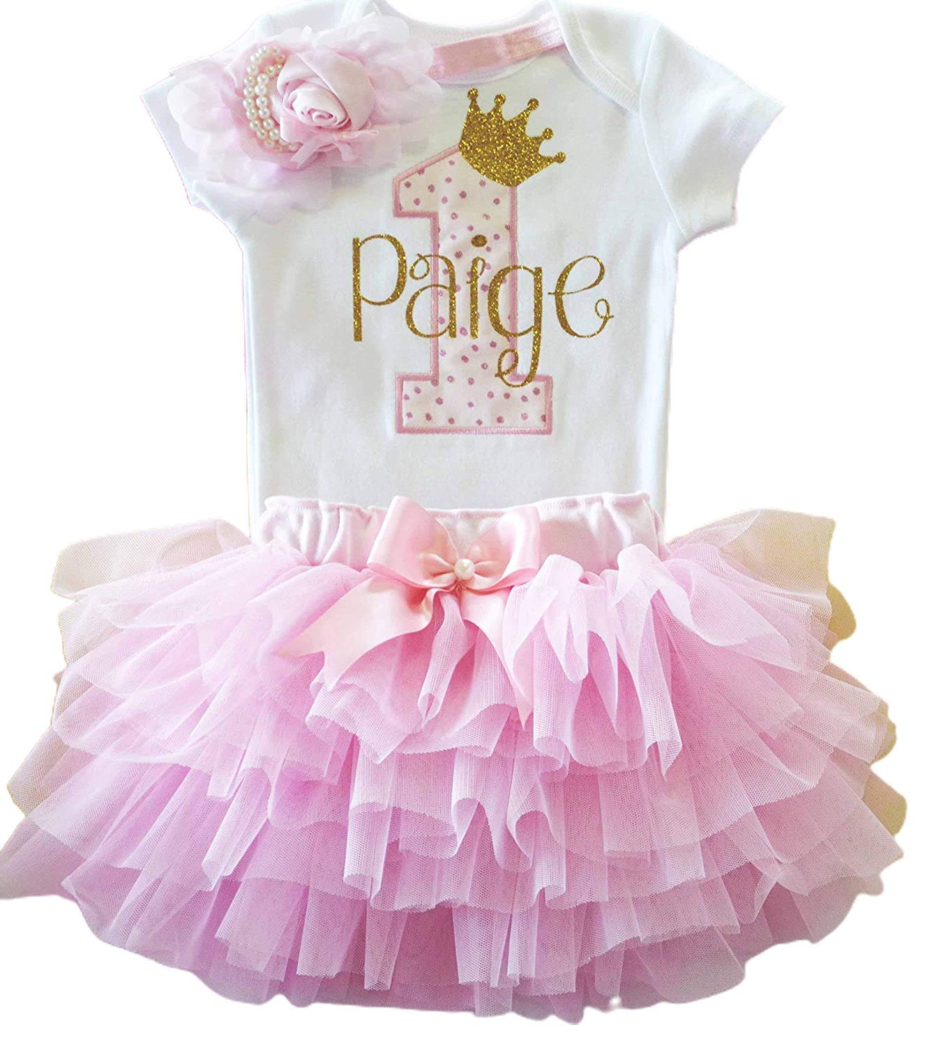 8st Gold Princess Personalized Bodysuit in Pink Tutu - Baby Cake Smash  Dress - Custom Gifts for 8 Year Old Toddler