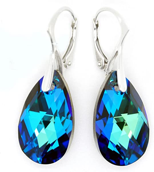 8b9a3a8e0534 Amazon.com  Sterling Silver 925 Made with Swarovski Crystals Blue-Green  Leverback Earrings for Women  Jewelry