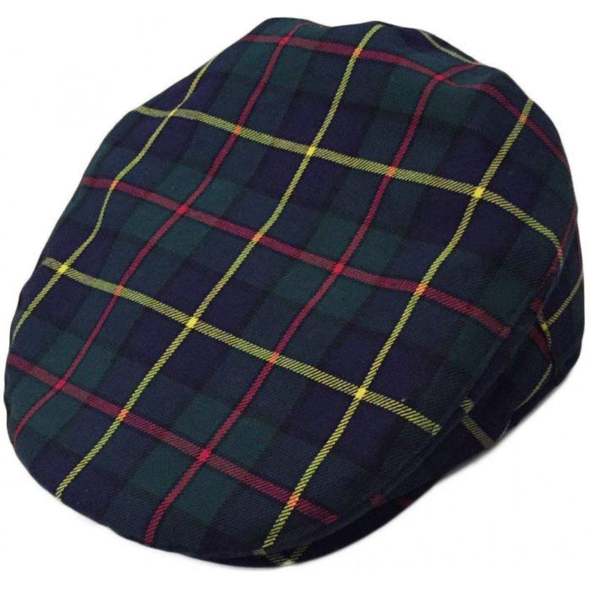 Mens Official Major Wear Navy Blue Scottish Tartan Flat Cap