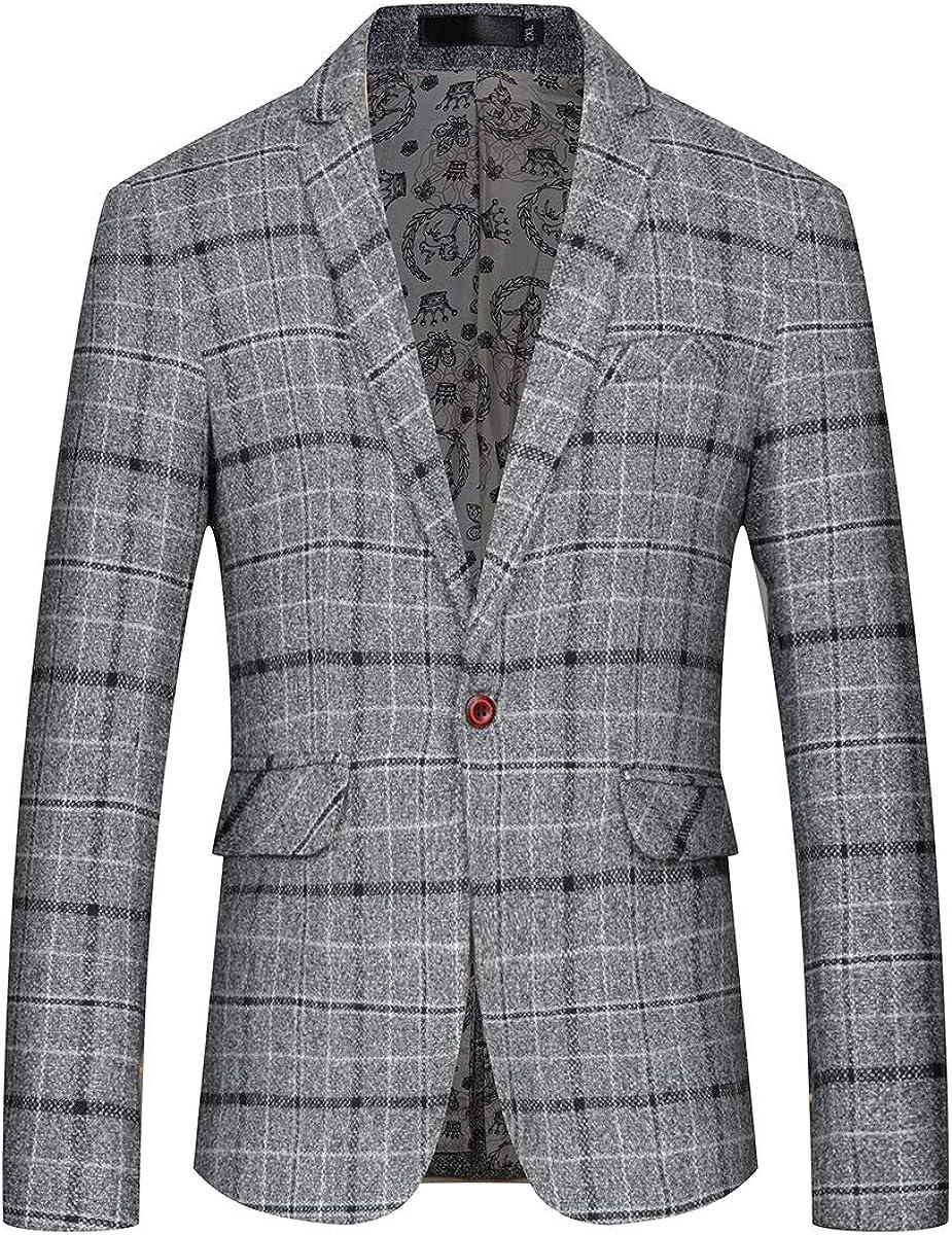 Mens Slim Fit Sport Coat Casual One Button Plaid Notch Lapel Jacket Blazer