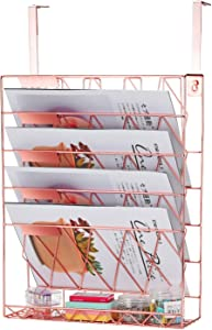 Samstar Hanging Wall File Holder,Wall Mounted File Folder Organizer for Cubicles Office Partition, Rose Gold