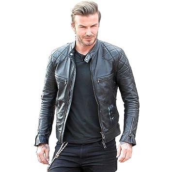 Pour David Réplique Homme Vache Beckham Style De Noir Biker Cuir rhBQdotsCx