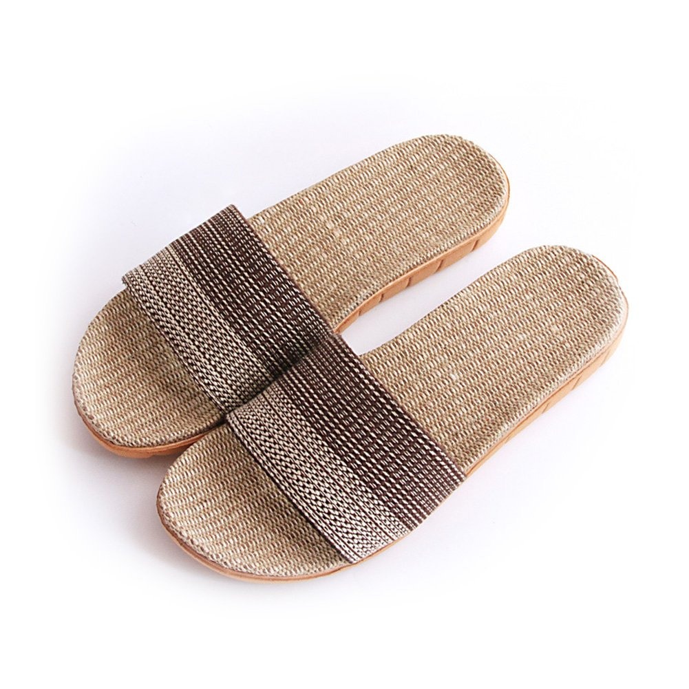 HaloVa Men Women Slippers, Summer Antislip Open-Toe Flax Slippers