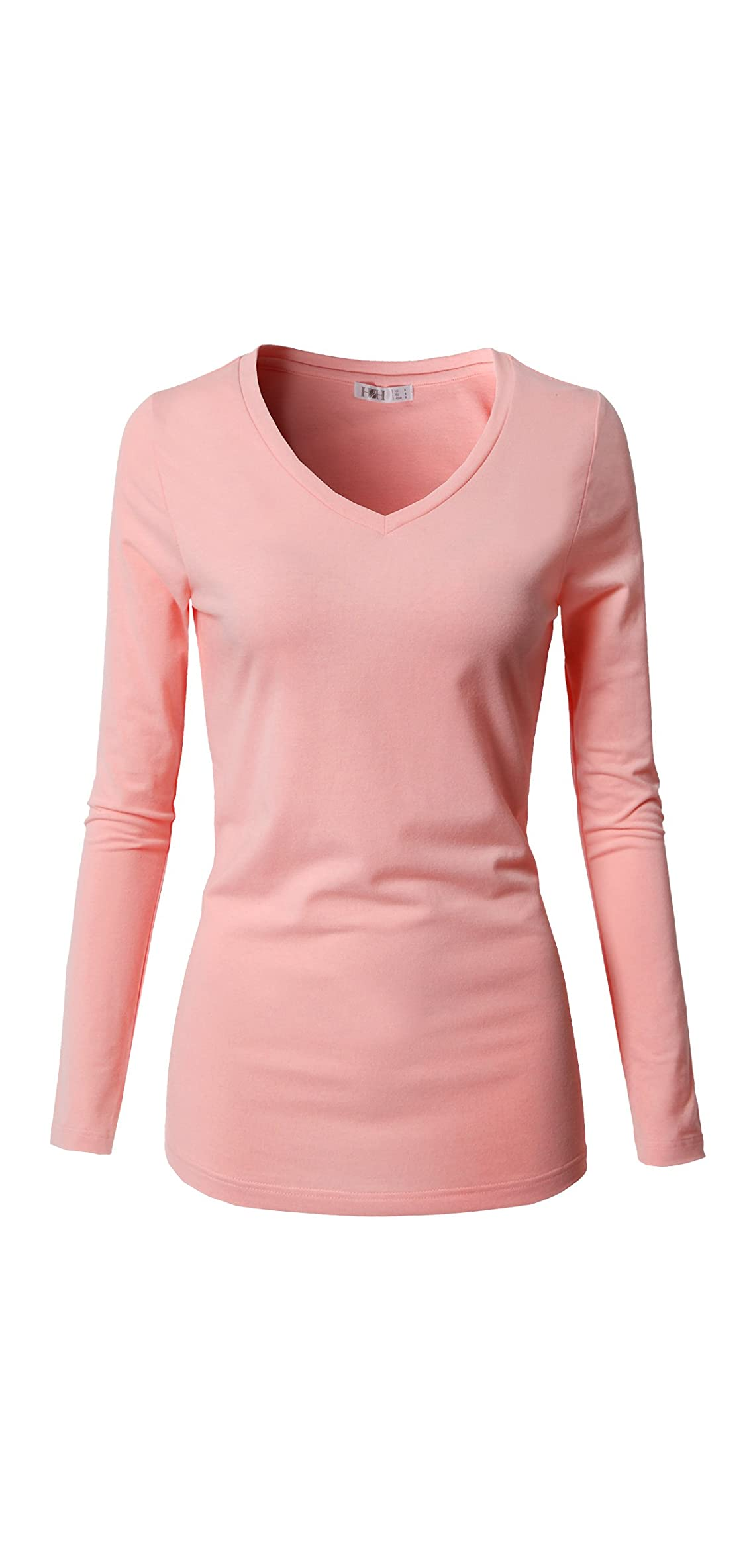 Womens Casual Slim Fit T-shirts Long Sleeve V Neck/crew Neck