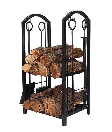 Amazon.com : Patio Watcher Deluxe Firewood Rack Log Rack with 4 ...