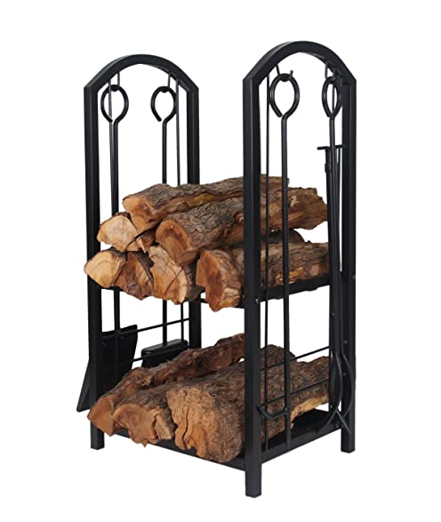 Amazon.com : Patio Watcher Deluxe Firewood Rack Log Rack with 4 ...
