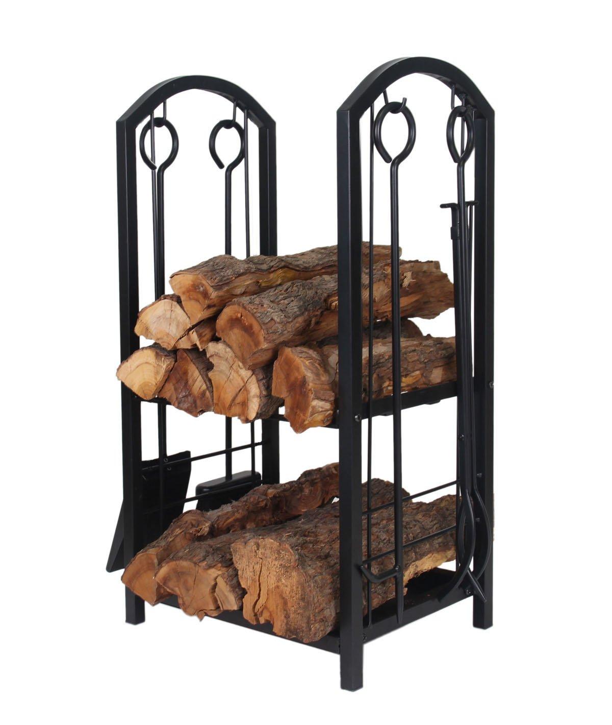 Patio Watcher Deluxe Firewood Rack Log Rack with 4 Tools Firewood Storage Log Holder for Indoor Outdoor Backyard Fireplace, Heavy Duty Steel Black