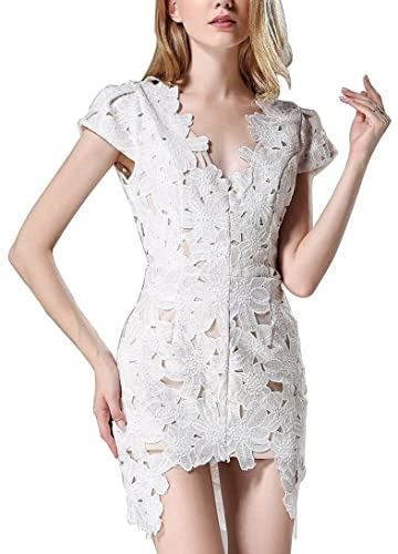 Women Sexy Floral Beep V Neck Cap Sleeve Cut Out Bodycon Clubwear Party Mini Dress