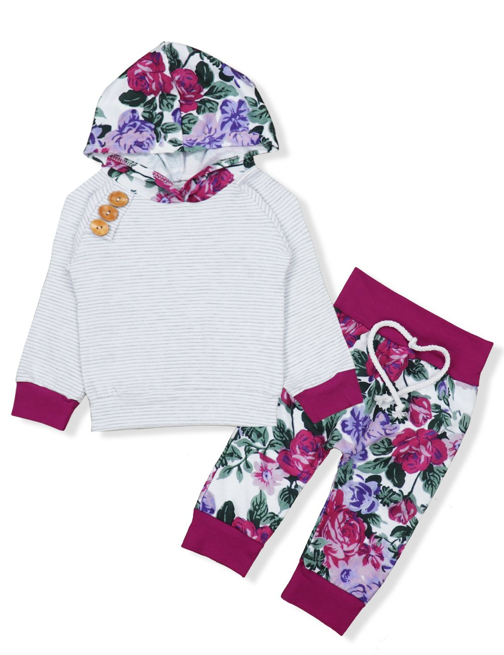 Baby Girls Long Sleeve Flowers Hoodie Tops and Pants Outfit with Kangaroo Pocket Headband (0-6 Months) by Oklady (Image #1)